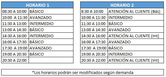 horarios cursos intensivos ingles verano