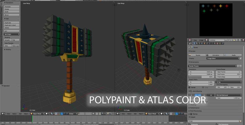 curso introducción polypaint y atlas color con blender