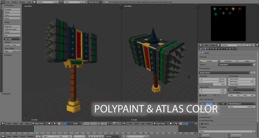 curso introducción polypaint y atlas color con blender