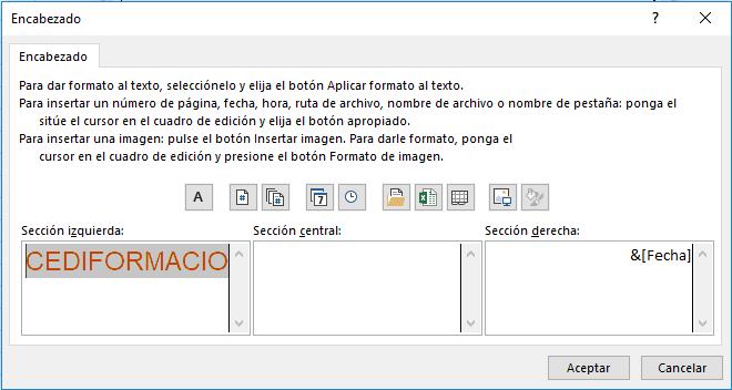 uadro personalizar encabezado en Excel con secciones empresa y fecha