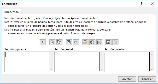 cuadro personalizar encabezado en Excel