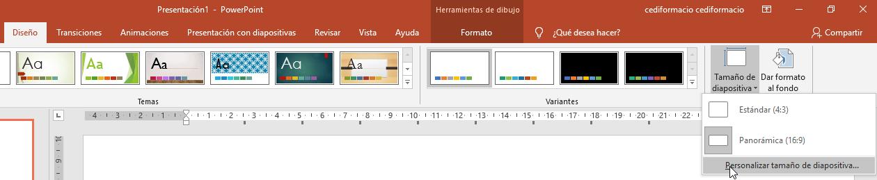 personalizacion tamaño diapositiva