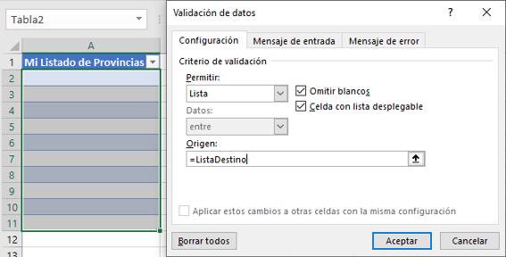 Cuadro de diálogo de Validación de datos LIsta.