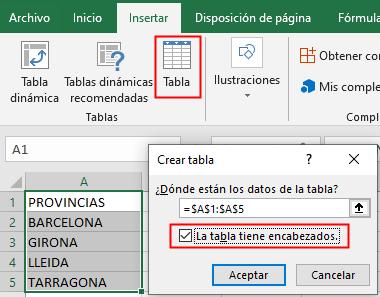 Creación de una tabla de datos.