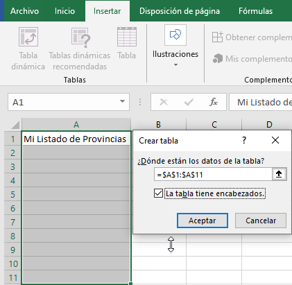 Tabla de datos de destino