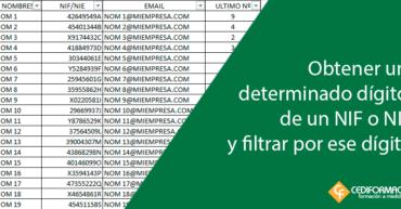 Obtener el último dígito de un NIF/NIE y filtrar por ese dígito en Excel