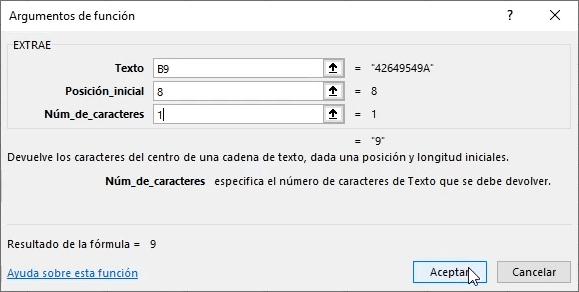 Asistente de fórmula EXTRAE en Excel cumplimentado
