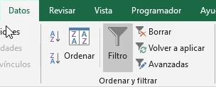 Uso del comando Filtro en Excel