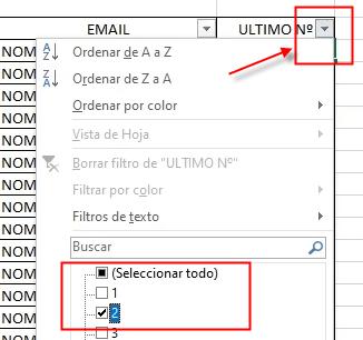 Seleccionar un filtro determinado en Excel