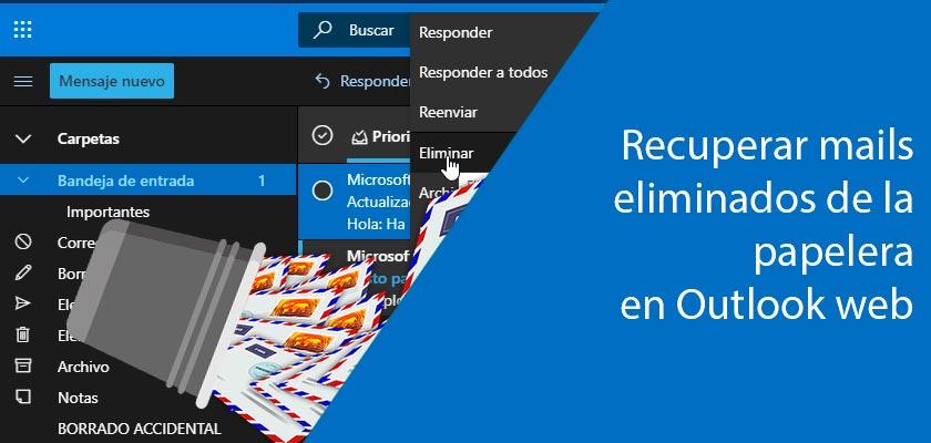 Imagen de recuperación mails eliminados papelera de Outlook