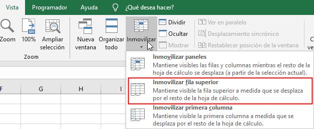 Ruta para inmovilizar fila superior de una hoja de Excel