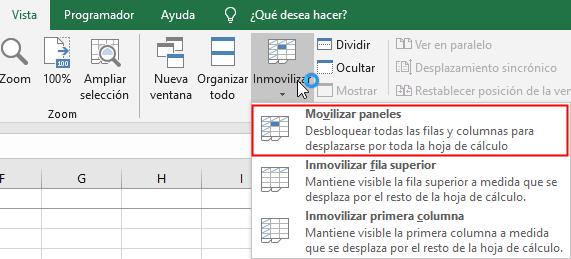 Ruta para movilizar paneles de una hoja de Excel
