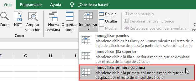 Ruta para inmovilizar primera columna de una hoja de Excel
