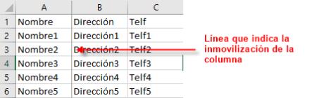Línea que marca la inmovilización de la primera columna