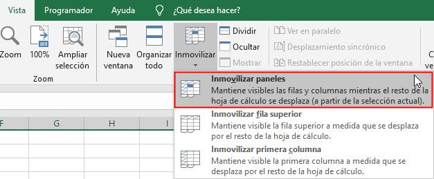 Ruta para inmovilizar los paneles de una hoja de Excel
