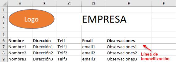 Línea que marca la inmovilización de los paneles de una hoja de Excel